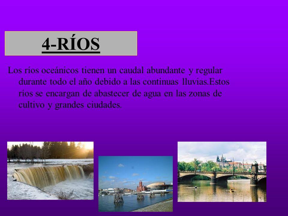 4-RÍOS Los ríos oceánicos tienen un caudal abundante y regular durante todo el año debido a las continuas lluvias.Estos ríos se encargan de abastecer de agua en las zonas de cultivo y grandes ciudades.