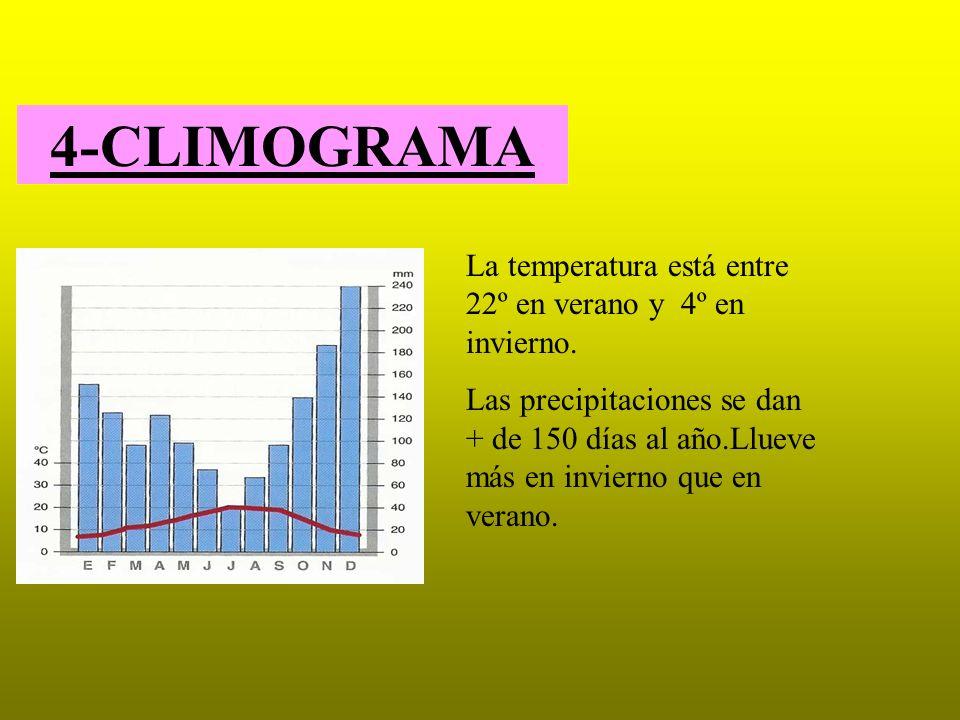 4-CLIMOGRAMA La temperatura está entre 22º en verano y 4º en invierno. Las precipitaciones se dan + de 150 días al año.Llueve más en invierno que en v