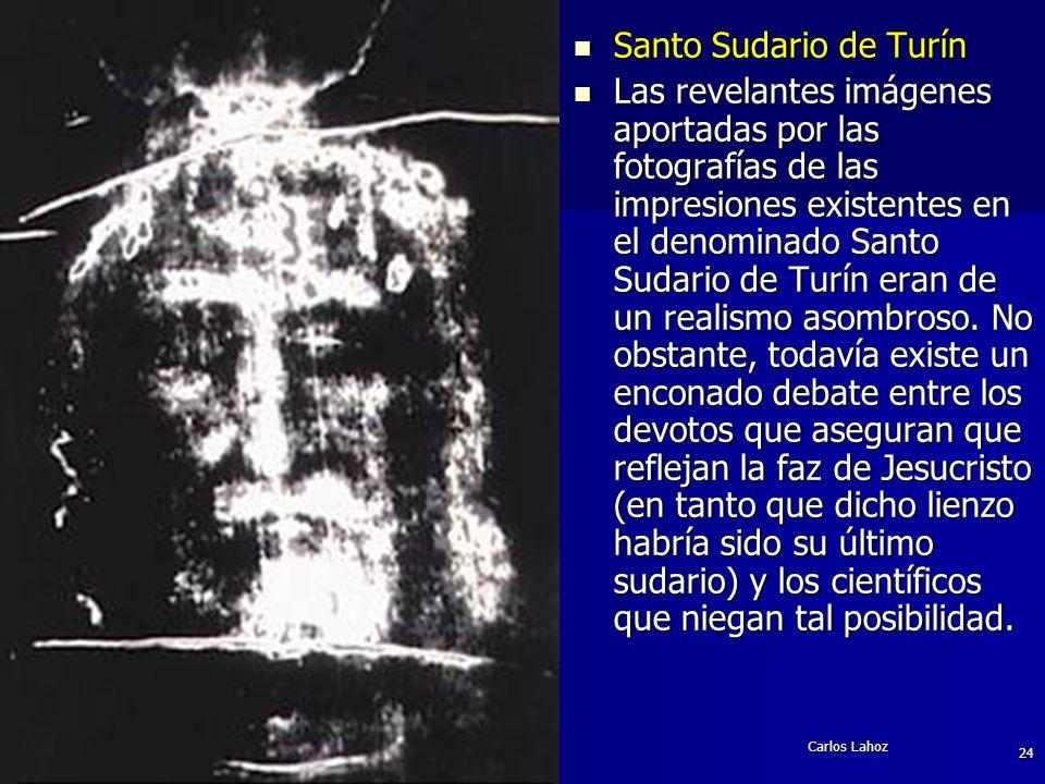 Carlos Lahoz 24 Santo Sudario de Turín Santo Sudario de Turín Las revelantes imágenes aportadas por las fotografías de las impresiones existentes en e