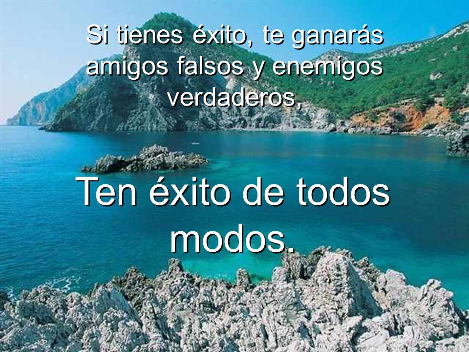 Si tienes éxito, te ganarás amigos falsos y enemigos verdaderos, Si tienes éxito, te ganarás amigos falsos y enemigos verdaderos, Ten éxito de todos modos.