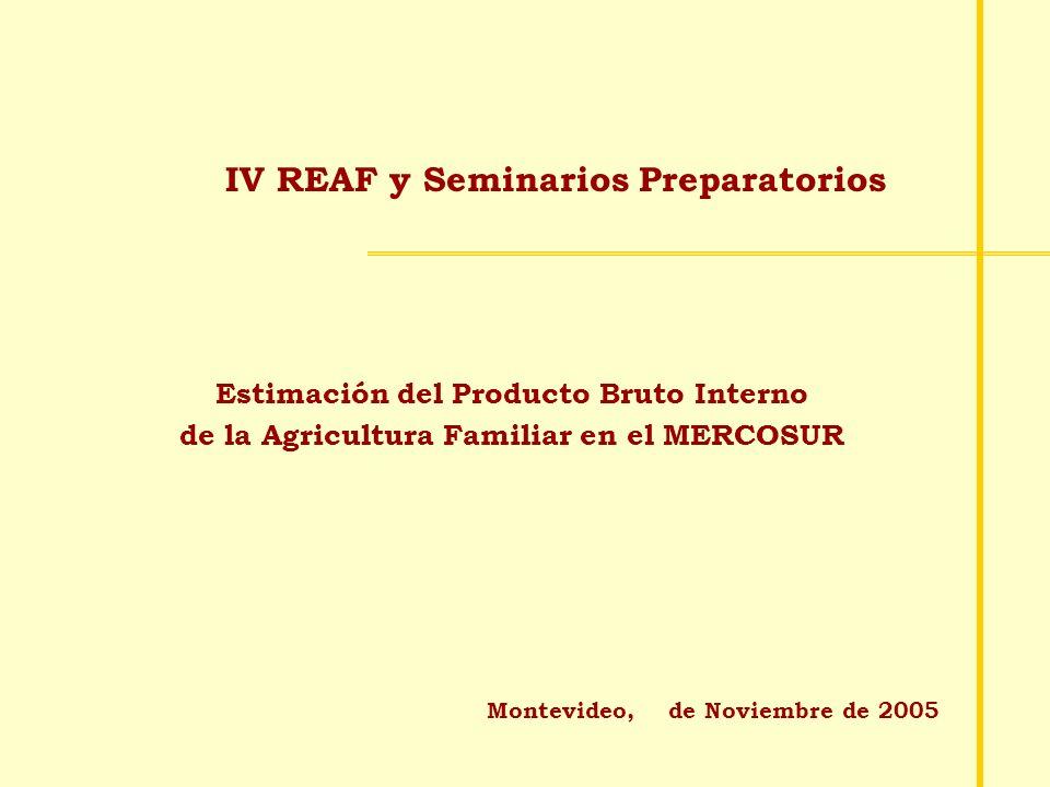 IV REAF y Seminarios Preparatorios Montevideo, de Noviembre de 2005 Estimación del Producto Bruto Interno de la Agricultura Familiar en el MERCOSUR