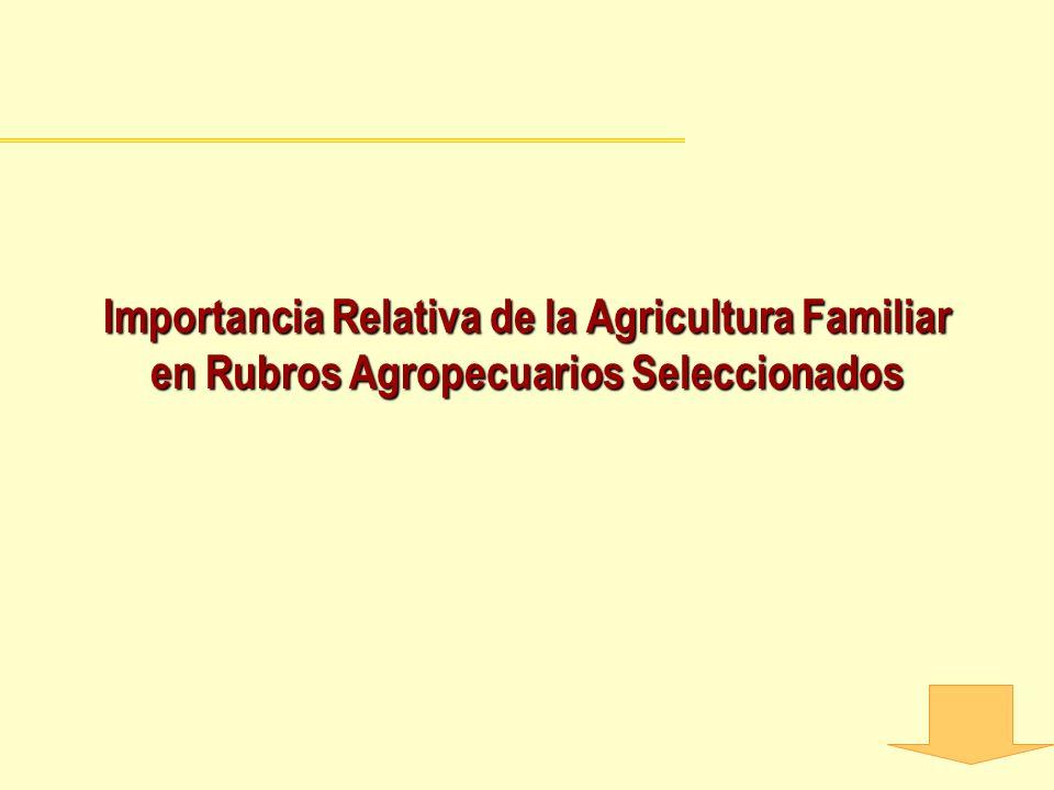 Importancia Relativa de la Agricultura Familiar en Rubros Agropecuarios Seleccionados