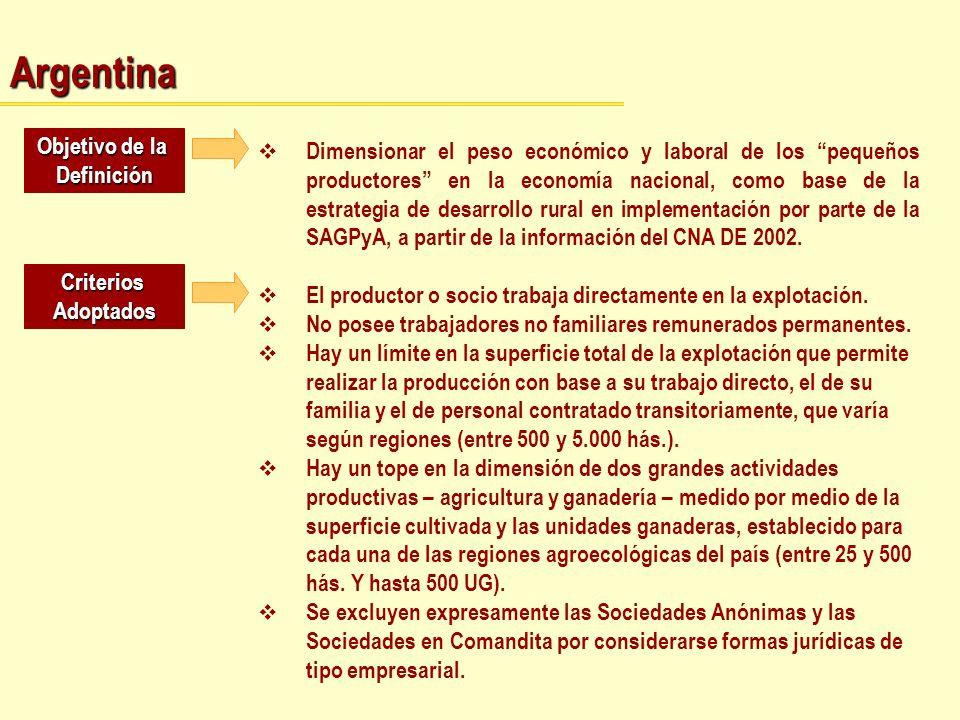 Argentina Objetivo de la Definición Dimensionar el peso económico y laboral de los pequeños productores en la economía nacional, como base de la estra