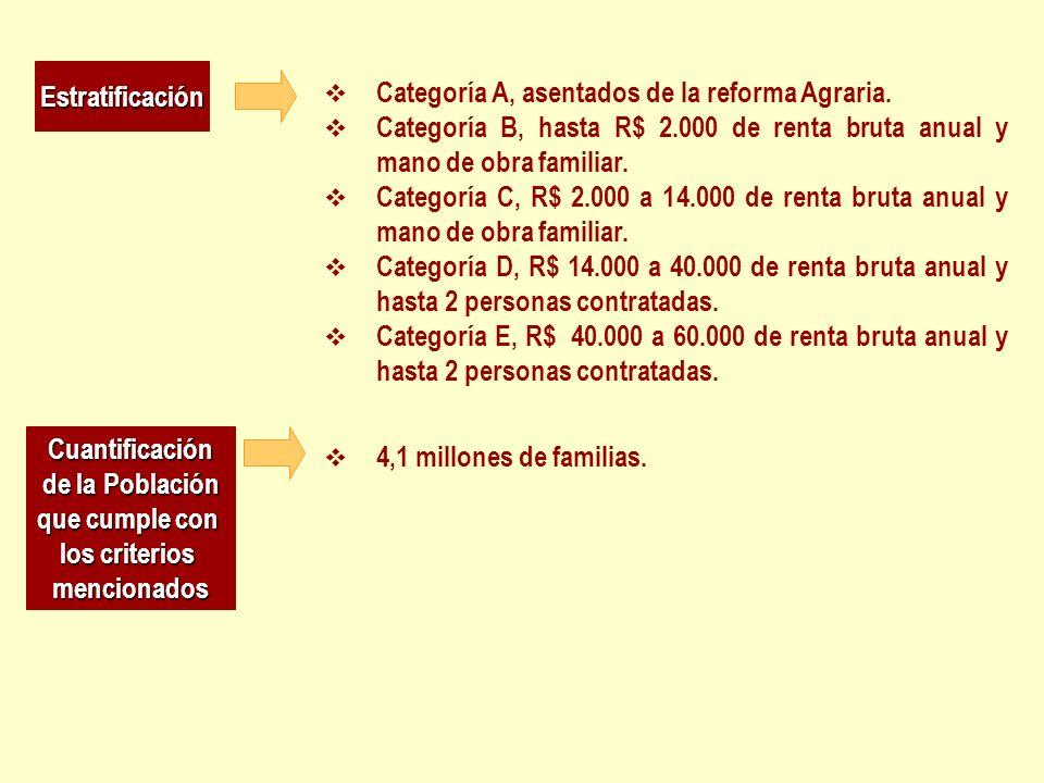 Estratificación Categoría A, asentados de la reforma Agraria. Categoría B, hasta R$ 2.000 de renta bruta anual y mano de obra familiar. Categoría C, R