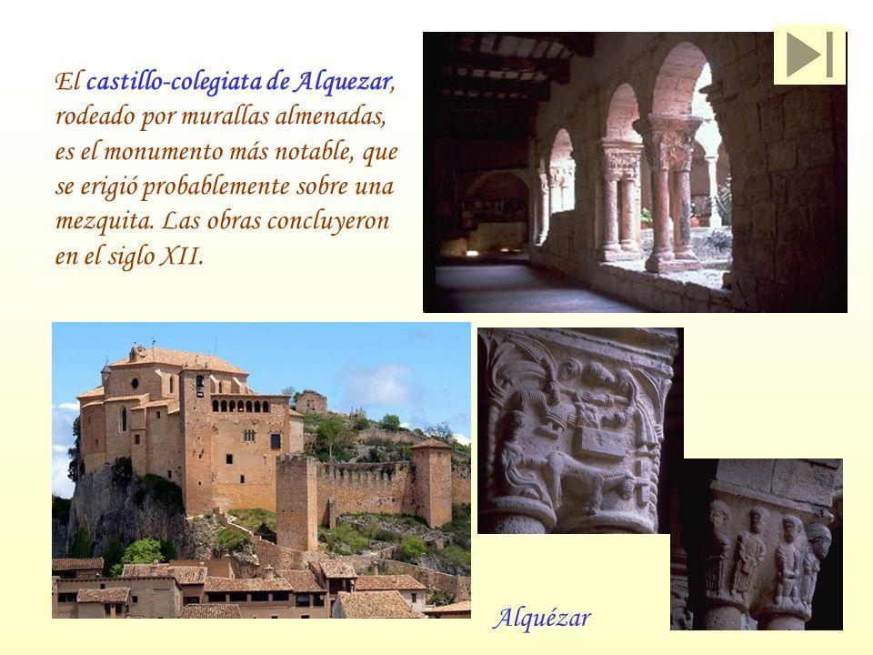 Alquézar El castillo-colegiata de Alquezar, rodeado por murallas almenadas, es el monumento más notable, que se erigió probablemente sobre una mezquit