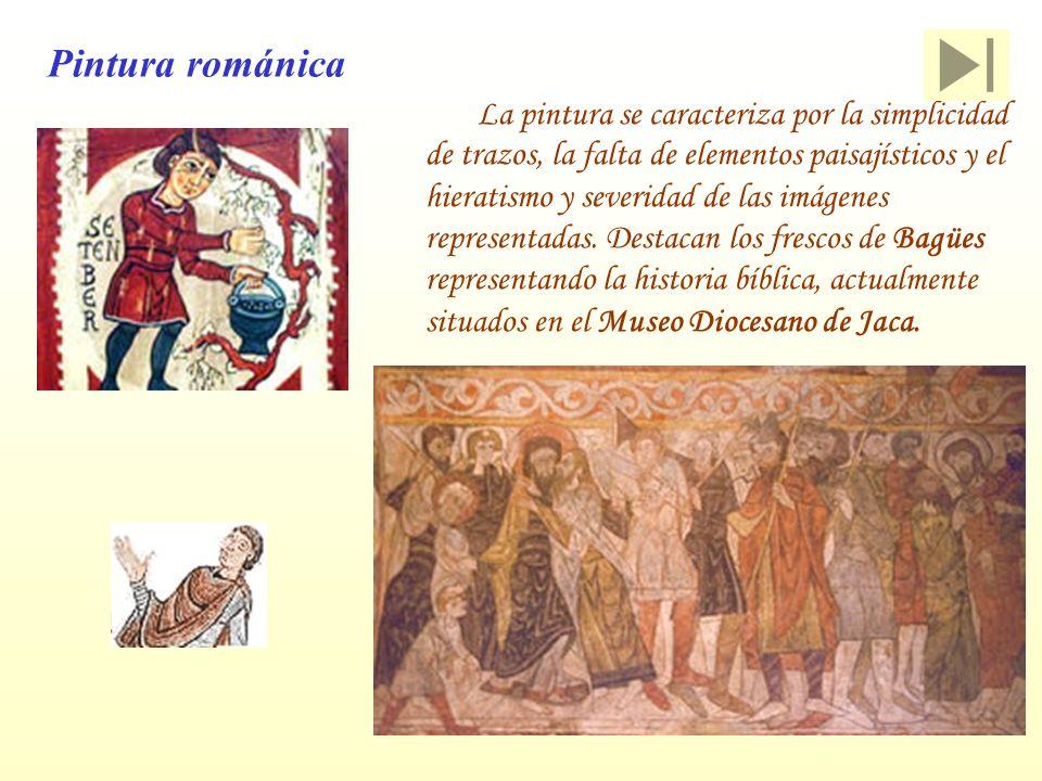Pintura románica La pintura se caracteriza por la simplicidad de trazos, la falta de elementos paisajísticos y el hieratismo y severidad de las imágen