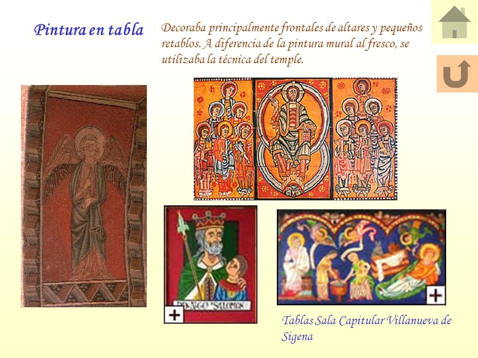 Decoraba principalmente frontales de altares y pequeños retablos. A diferencia de la pintura mural al fresco, se utilizaba la técnica del temple. Pint
