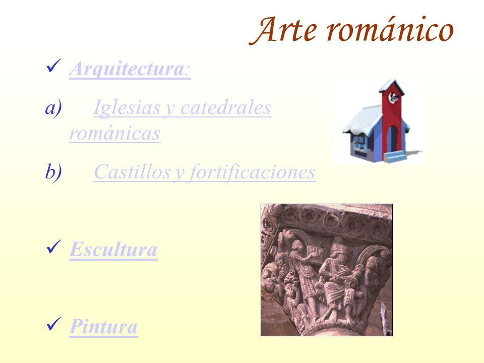 Arte románico Arquitectura: Arquitectura: a)Iglesias y catedrales románicasIglesias y catedrales románicas b)Castillos y fortificacionesCastillos y fo