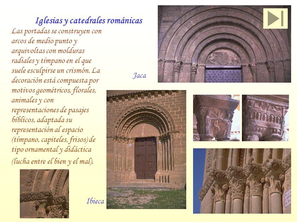 Iglesias y catedrales románicas Jaca Las portadas se construyen con arcos de medio punto y arquivoltas con molduras radiales y tímpano en el que suele