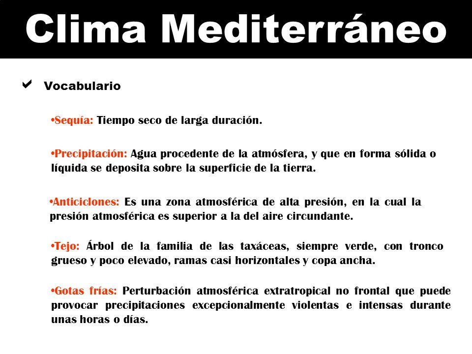 Clima Mediterráneo Vocabulario Sequía: Tiempo seco de larga duración. Precipitación: Agua procedente de la atmósfera, y que en forma sólida o líquida