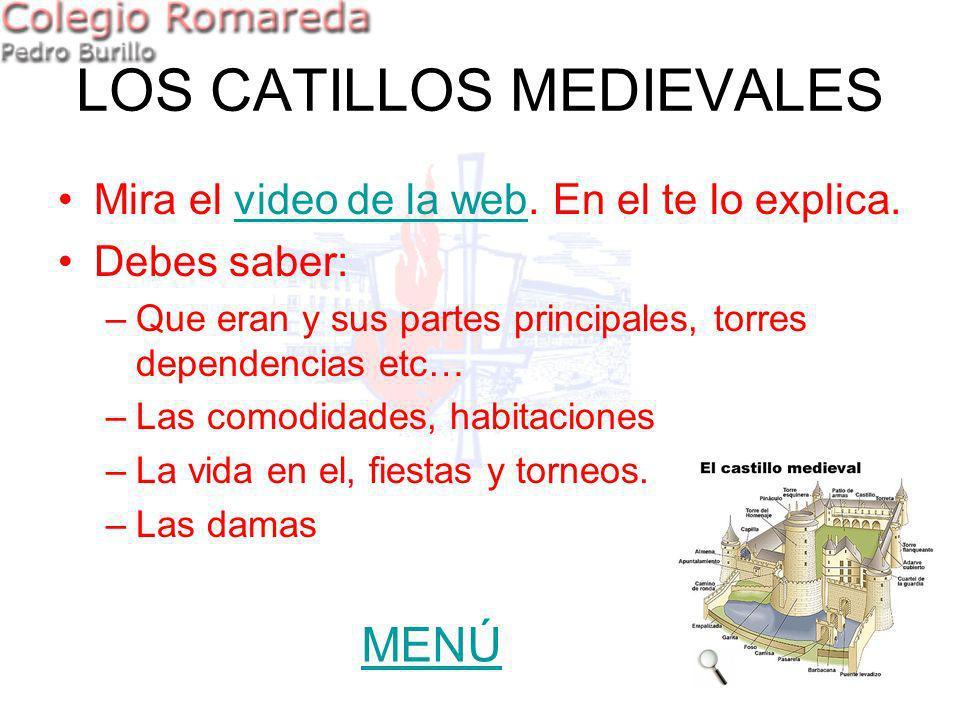LOS CATILLOS MEDIEVALES Mira el video de la web. En el te lo explica.video de la web Debes saber: –Que eran y sus partes principales, torres dependenc