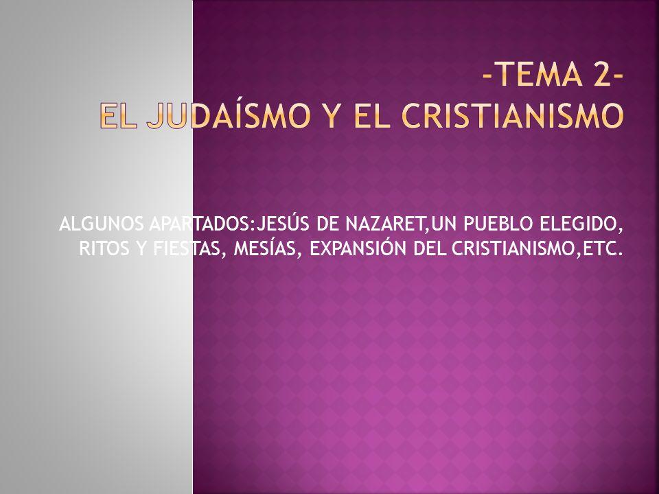 ALGUNOS APARTADOS:JESÚS DE NAZARET,UN PUEBLO ELEGIDO, RITOS Y FIESTAS, MESÍAS, EXPANSIÓN DEL CRISTIANISMO,ETC.