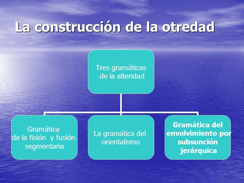 La construcción de la otredad Tres gramáticas de la alteridad Gramática de la fisión y fusión segmentaria La gramática del orientalismo Gramática del envolvimiento por subsunción jerárquica