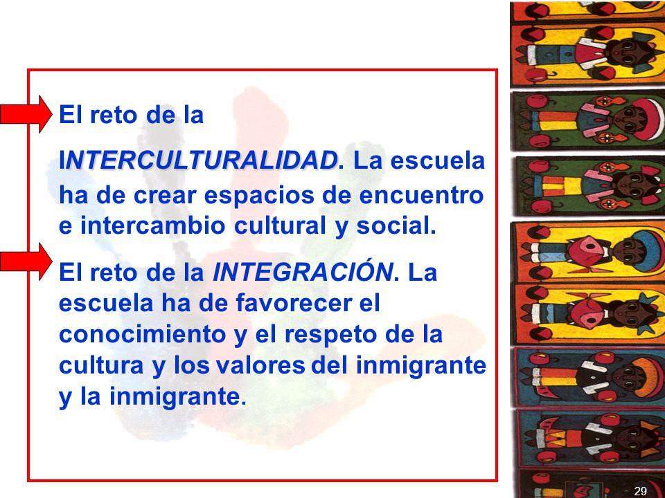 NTERCULTURALIDAD El reto de la INTERCULTURALIDAD. La escuela ha de crear espacios de encuentro e intercambio cultural y social. El reto de la INTEGRAC