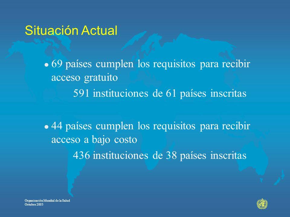 Organización Mundial de la Salud Octubre 2003 Situación Actual l 69 países cumplen los requisitos para recibir acceso gratuito 591 instituciones de 61