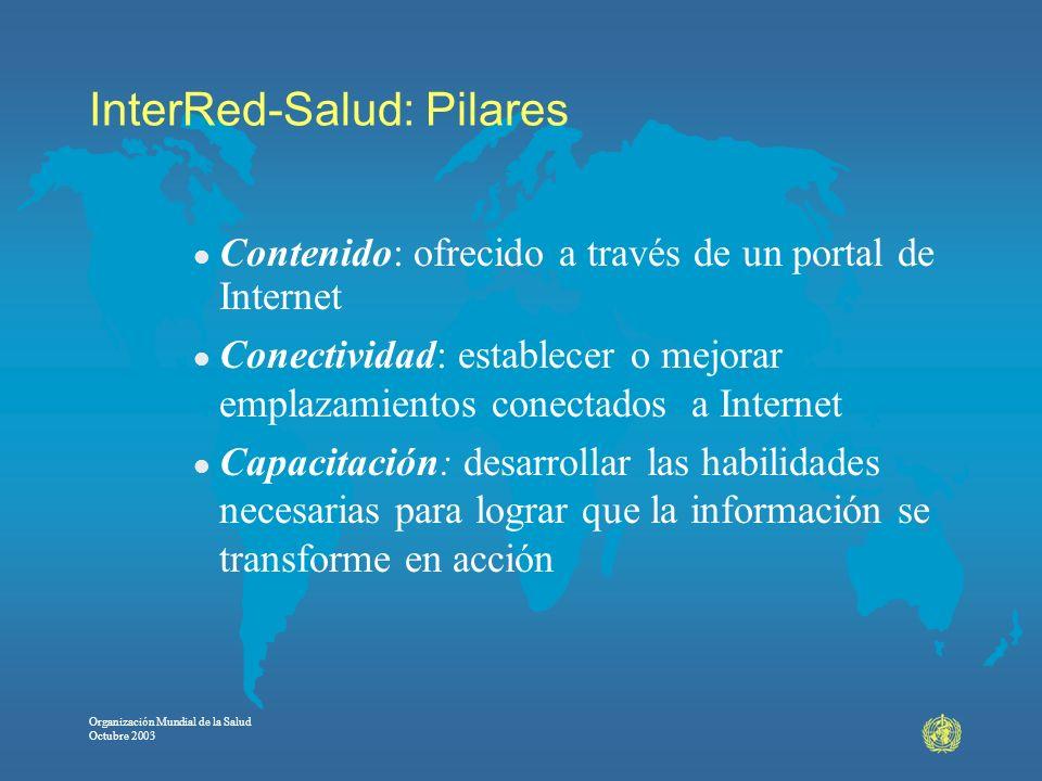 Organización Mundial de la Salud Octubre 2003 InterRed-Salud: Pilares l Contenido: ofrecido a través de un portal de Internet l Conectividad: establec