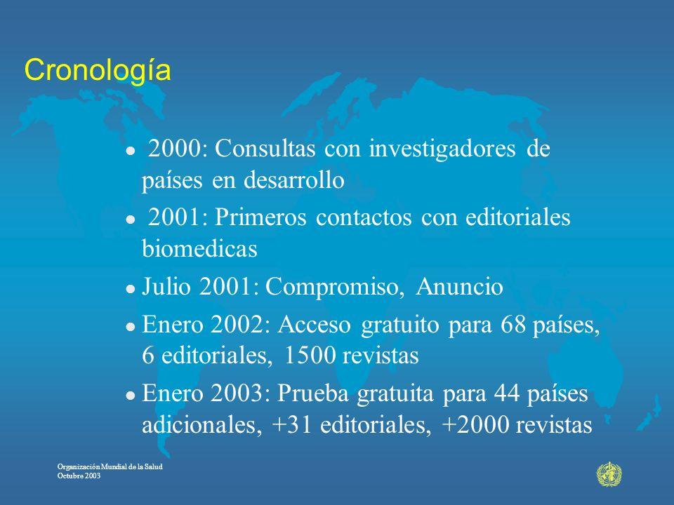Organización Mundial de la Salud Octubre 2003 Cronología l 2000: Consultas con investigadores de países en desarrollo l 2001: Primeros contactos con e