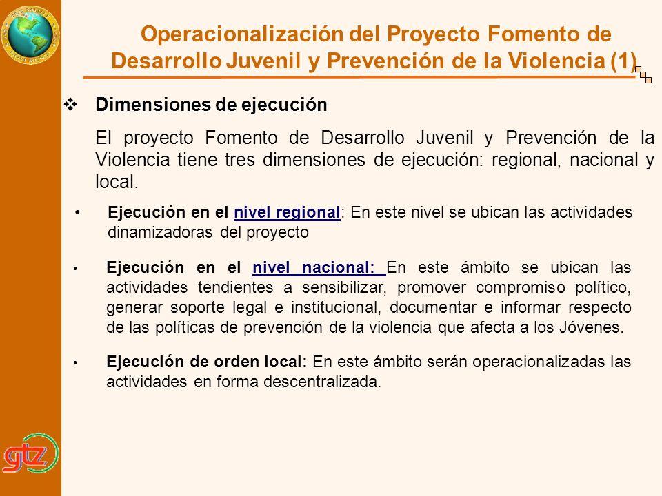 Operacionalización del Proyecto Fomento de Desarrollo Juvenil y Prevención de la Violencia (1) Dimensiones de ejecución Dimensiones de ejecución El pr