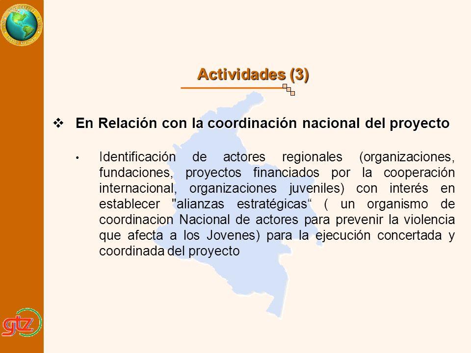 Actividades (3) En Relación con la coordinación nacional del proyecto En Relación con la coordinación nacional del proyecto Identificación de actores