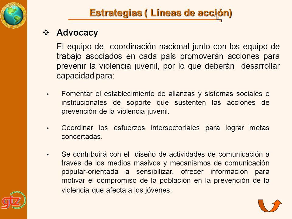 Estrategias ( Líneas de acción) Advocacy Advocacy El equipo de coordinación nacional junto con los equipo de trabajo asociados en cada país promoverán