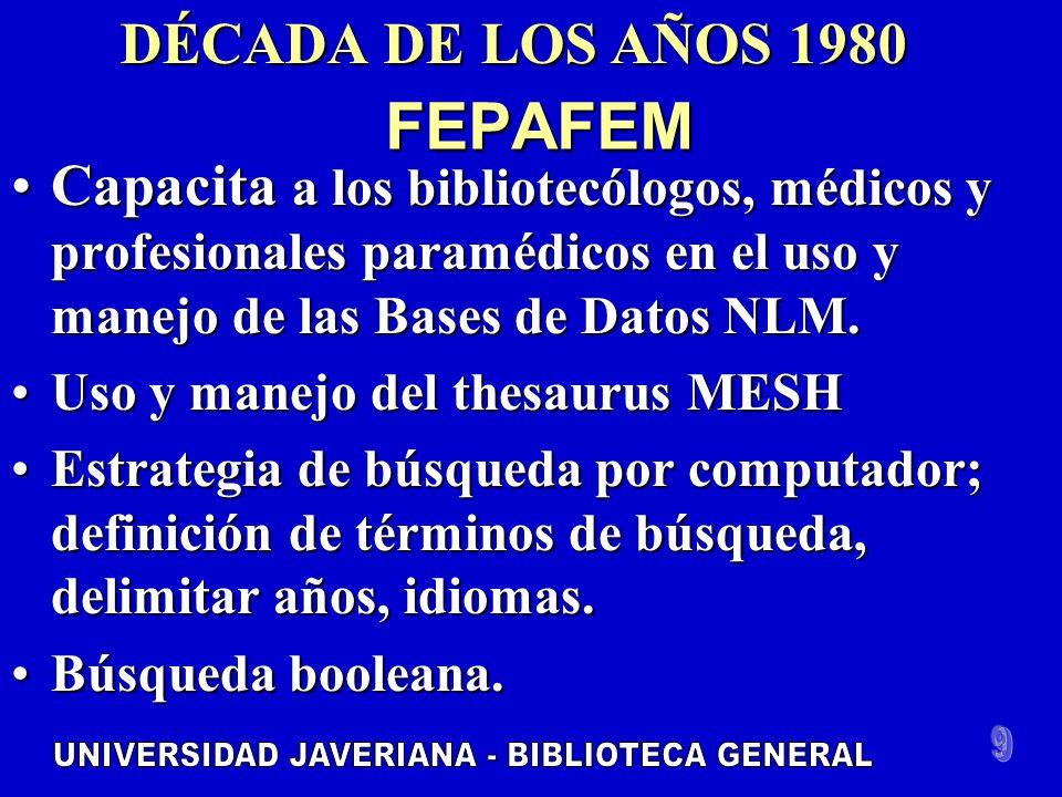 FEPAFEM Capacita a los bibliotecólogos, médicos y profesionales paramédicos en el uso y manejo de las Bases de Datos NLM.Capacita a los bibliotecólogos, médicos y profesionales paramédicos en el uso y manejo de las Bases de Datos NLM.