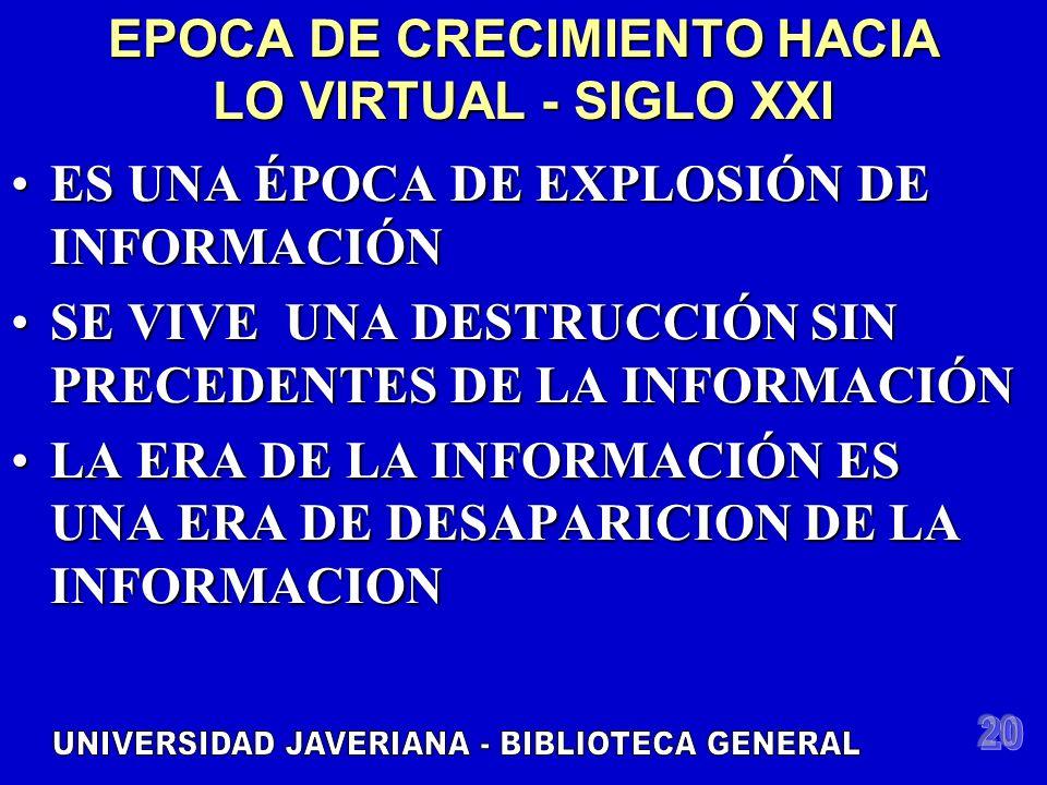 EPOCA DE CRECIMIENTO HACIA LO VIRTUAL - SIGLO XXI ES UNA ÉPOCA DE EXPLOSIÓN DE INFORMACIÓNES UNA ÉPOCA DE EXPLOSIÓN DE INFORMACIÓN SE VIVE UNA DESTRUCCIÓN SIN PRECEDENTES DE LA INFORMACIÓNSE VIVE UNA DESTRUCCIÓN SIN PRECEDENTES DE LA INFORMACIÓN LA ERA DE LA INFORMACIÓN ES UNA ERA DE DESAPARICION DE LA INFORMACIONLA ERA DE LA INFORMACIÓN ES UNA ERA DE DESAPARICION DE LA INFORMACION