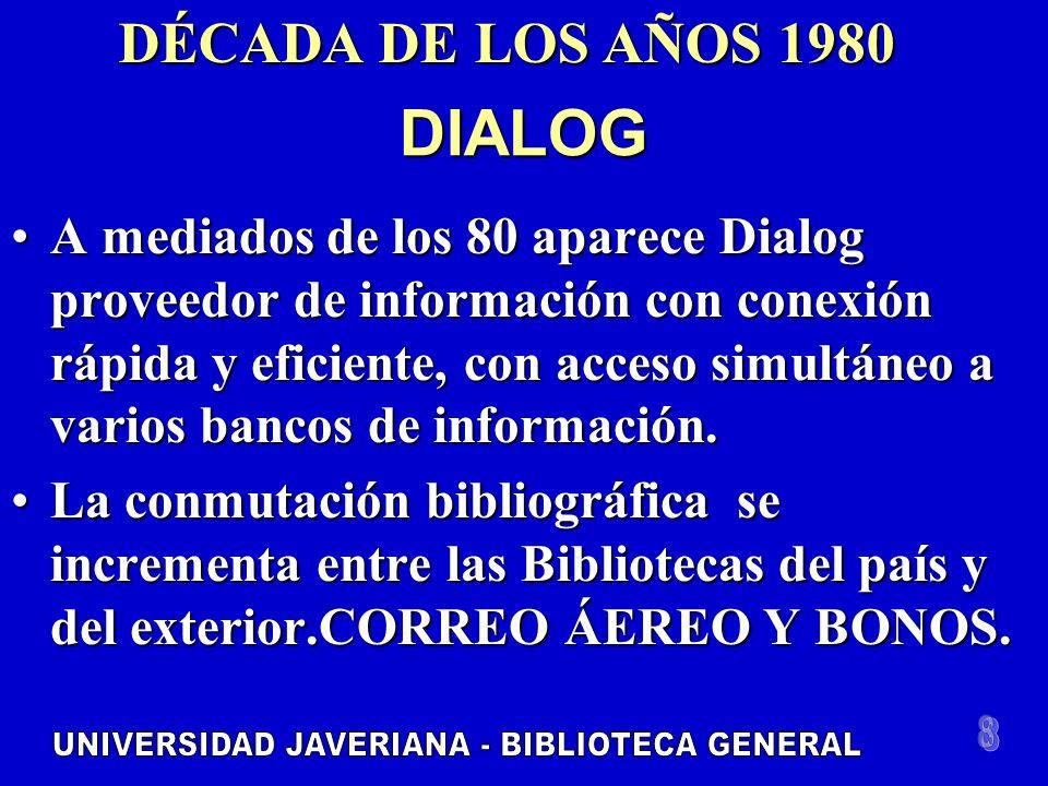 DIALOG A mediados de los 80 aparece Dialog proveedor de información con conexión rápida y eficiente, con acceso simultáneo a varios bancos de información.A mediados de los 80 aparece Dialog proveedor de información con conexión rápida y eficiente, con acceso simultáneo a varios bancos de información.
