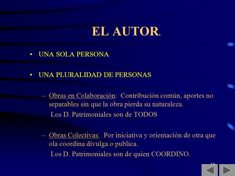 9 EL AUTOR. El Autor es la persona física que realiza la creación intelectual. (Escritor, sea alumno, profesor o empleado) El Titular es la persona na