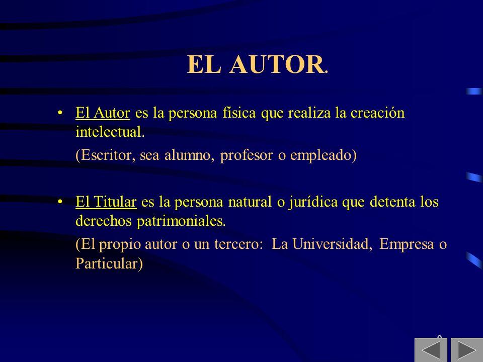 8 EL AUTOR. Es la persona física que realiza la creación intelectual. Una persona, natural o jurídica distinta del autor, puede ostentar la titularida