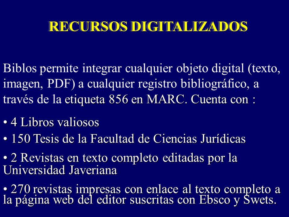RECURSOS DIGITALIZADOS etiqueta 856 en MARC.