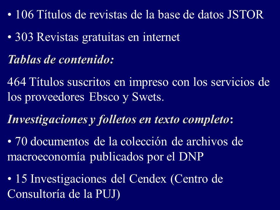 106 Títulos de revistas de la base de datos JSTOR 303 Revistas gratuitas en internet Tablas de contenido: 464 Títulos suscritos en impreso con los servicios de los proveedores Ebsco y Swets.