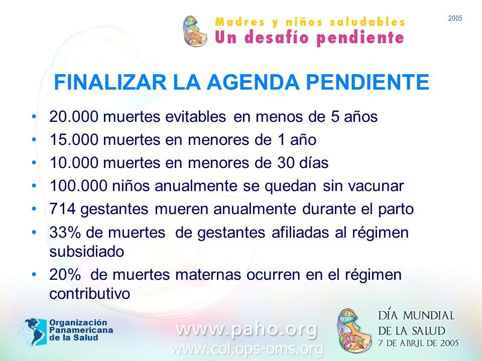 www.col.ops-oms.org 2005 Organización Panamericana de la Salud FINALIZAR LA AGENDA PENDIENTE 20.000 muertes evitables en menos de 5 años 15.000 muertes en menores de 1 año 10.000 muertes en menores de 30 días 100.000 niños anualmente se quedan sin vacunar 714 gestantes mueren anualmente durante el parto 33% de muertes de gestantes afiliadas al régimen subsidiado 20% de muertes maternas ocurren en el régimen contributivo