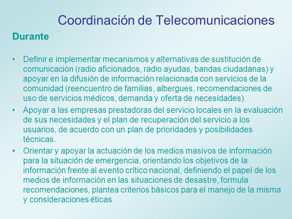 Disposiciones Ministerio de Comunicaciones El artículo 15 del Decreto 919 de 1989 por el cual se organiza el Sistema Nacional para la Prevención y Atención de Desastres establece que: la utilización de sistemas y medios de comunicación en caso de desastres y calamidades se regirá por las reglamentaciones que para el efecto dicte el Ministerio de Comunicaciones.