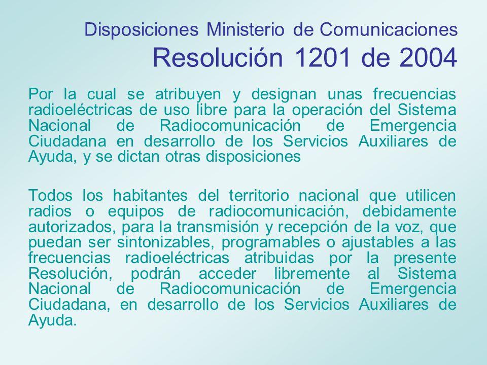 Disposiciones Ministerio de Comunicaciones Resolución 1201 de 2004
