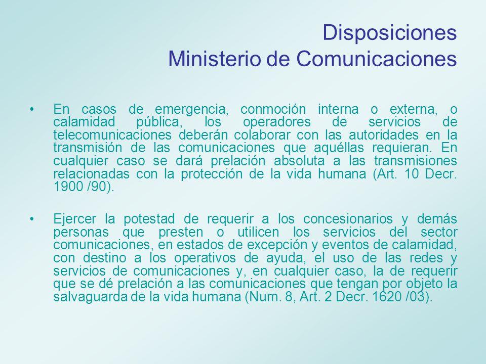 Coordinación de Telecomunicaciones Antes Establecer un Plan Sectorial de Emergencias y Contingencias en Telecomunicaciones que defina la organización, las funciones, responsabilidades, recursos y procedimientos de actuación para desastres nacionales.