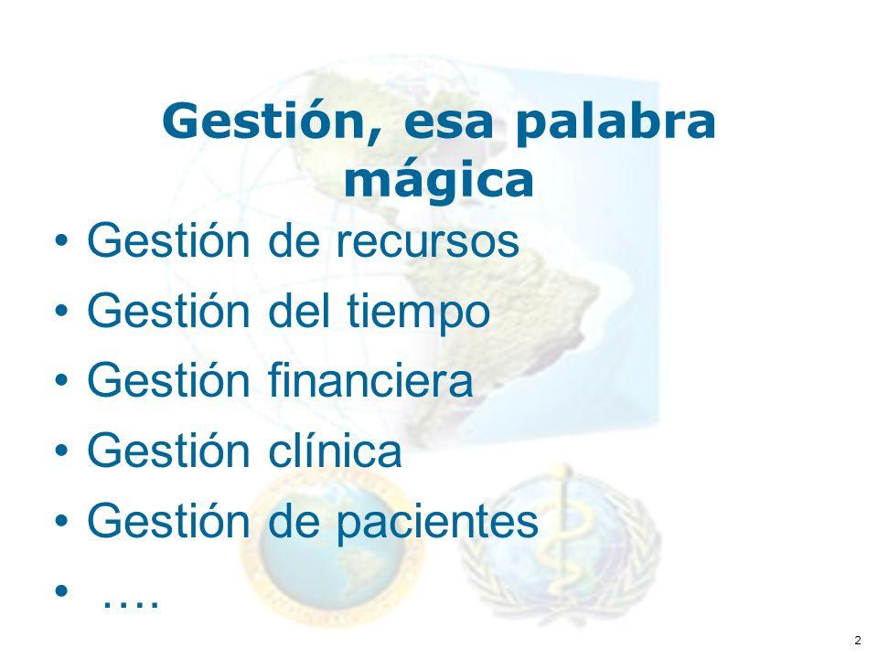 2 Gestión, esa palabra mágica Gestión de recursos Gestión del tiempo Gestión financiera Gestión clínica Gestión de pacientes ….