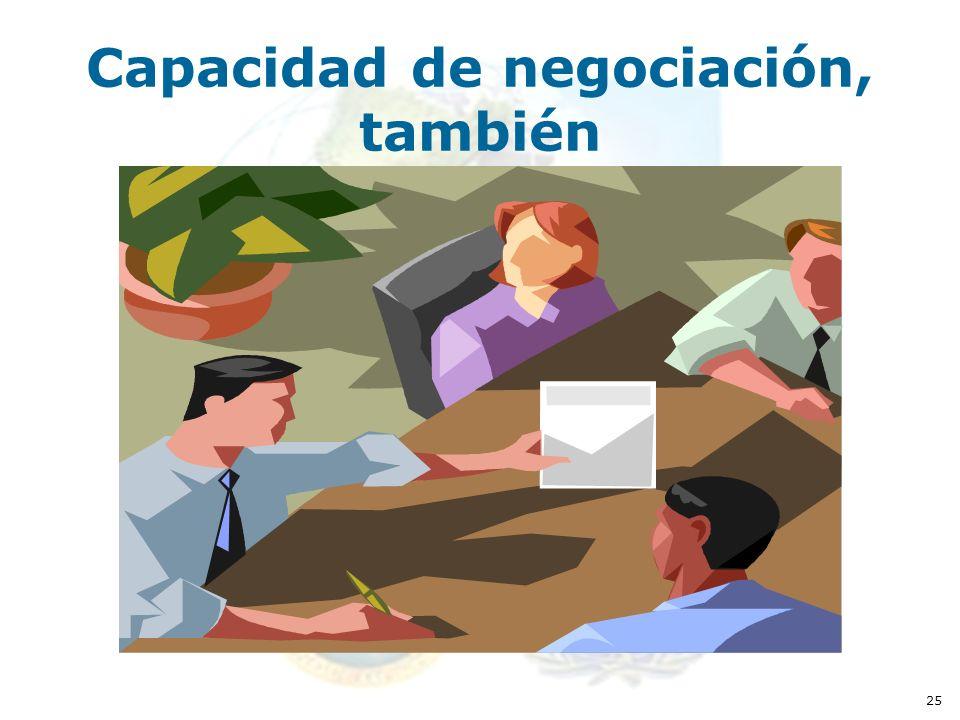 25 Capacidad de negociación, también