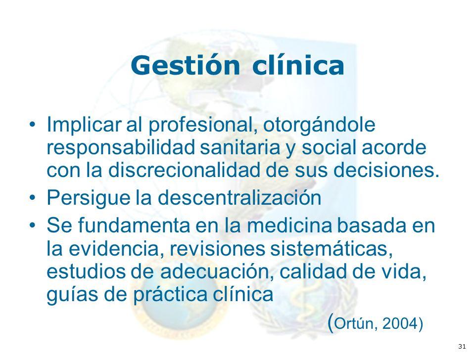 31 Gestión clínica Implicar al profesional, otorgándole responsabilidad sanitaria y social acorde con la discrecionalidad de sus decisiones.
