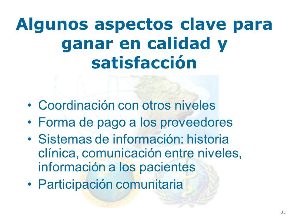 33 Algunos aspectos clave para ganar en calidad y satisfacción Coordinación con otros niveles Forma de pago a los proveedores Sistemas de información: historia clínica, comunicación entre niveles, información a los pacientes Participación comunitaria