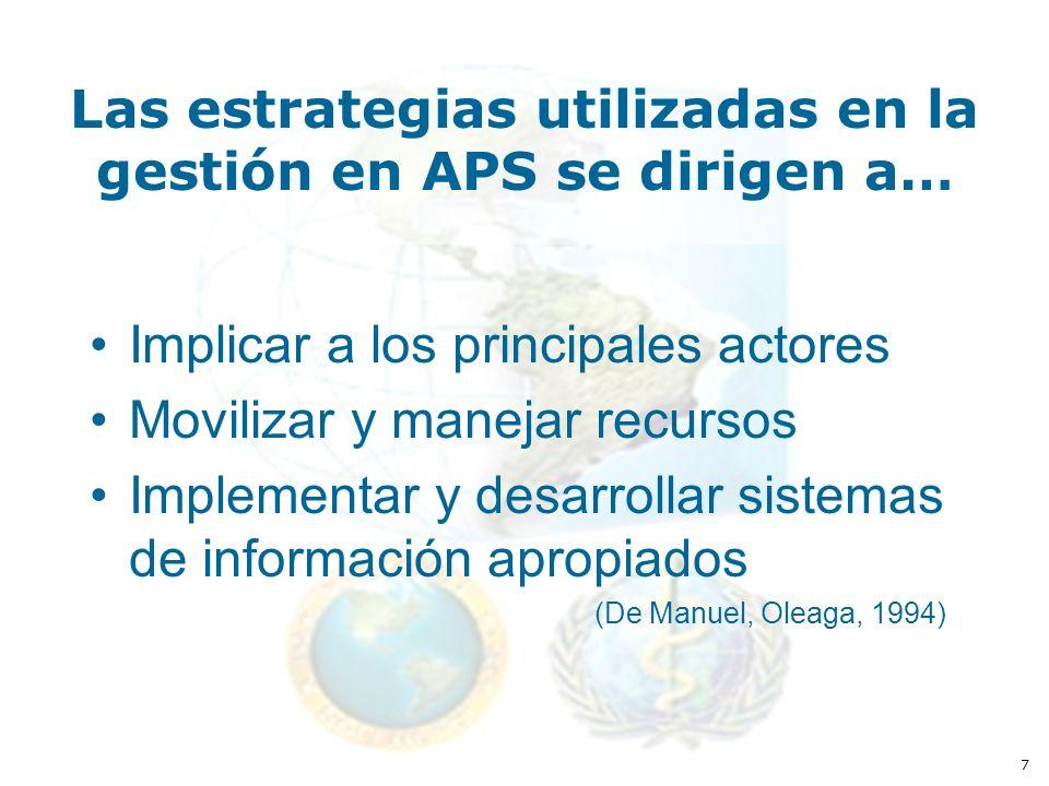 7 Las estrategias utilizadas en la gestión en APS se dirigen a… Implicar a los principales actores Movilizar y manejar recursos Implementar y desarrollar sistemas de información apropiados (De Manuel, Oleaga, 1994)