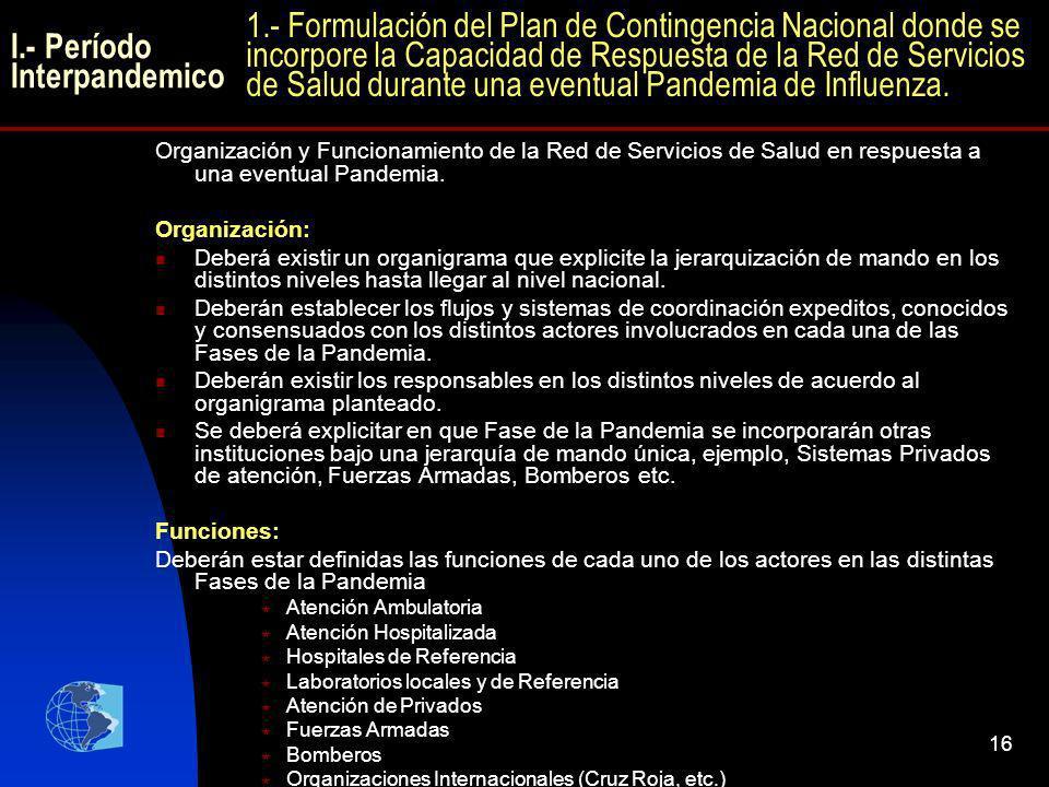 16 I.- Período Interpandemico Organización y Funcionamiento de la Red de Servicios de Salud en respuesta a una eventual Pandemia. Organización: Deberá