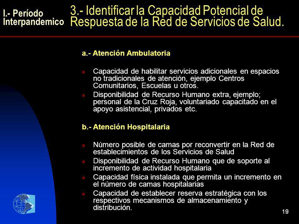 19 a.- Atención Ambulatoria Capacidad de habilitar servicios adicionales en espacios no tradicionales de atención, ejemplo Centros Comunitarios, Escue