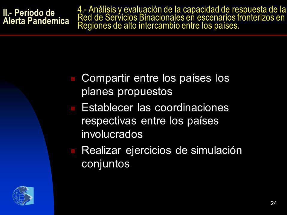 24 Compartir entre los países los planes propuestos Establecer las coordinaciones respectivas entre los países involucrados Realizar ejercicios de sim