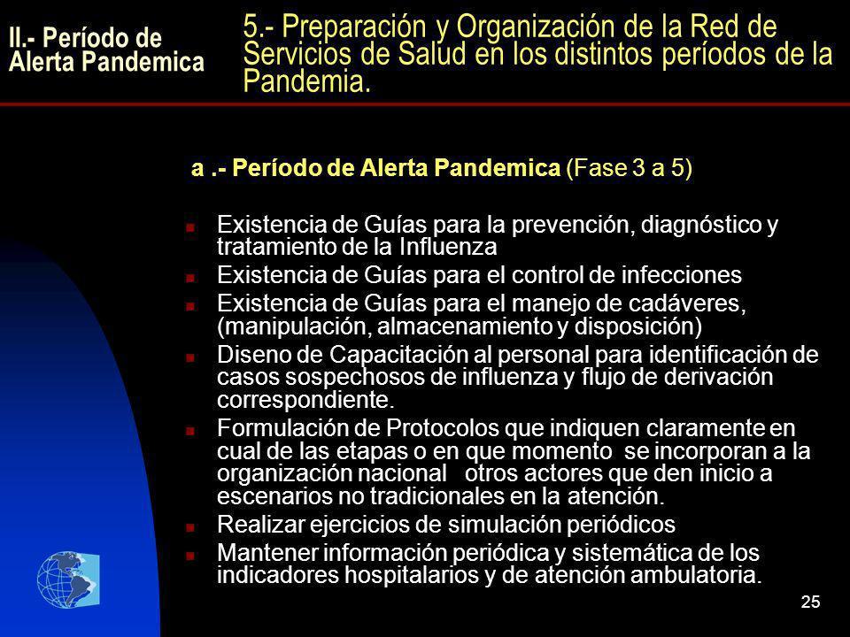 25 a.- Período de Alerta Pandemica (Fase 3 a 5) Existencia de Guías para la prevención, diagnóstico y tratamiento de la Influenza Existencia de Guías
