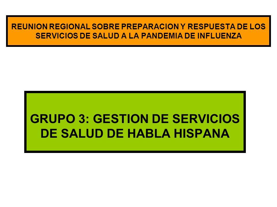 REUNION REGIONAL SOBRE PREPARACION Y RESPUESTA DE LOS SERVICIOS DE SALUD A LA PANDEMIA DE INFLUENZA GRUPO 3: GESTION DE SERVICIOS DE SALUD DE HABLA HISPANA