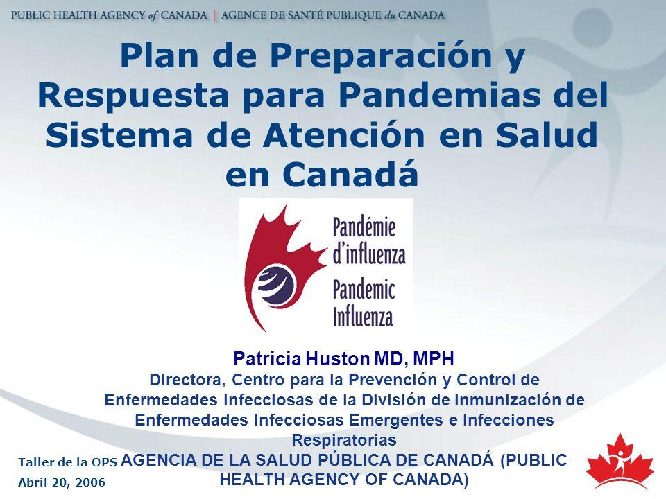 Plan de Preparación y Respuesta para Pandemias del Sistema de Atención en Salud en Canadá Patricia Huston MD, MPH Directora, Centro para la Prevención