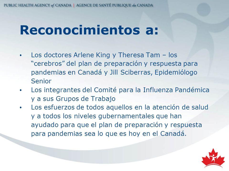 Reconocimientos a: Los doctores Arlene King y Theresa Tam – los cerebros del plan de preparación y respuesta para pandemias en Canadá y Jill Sciberras