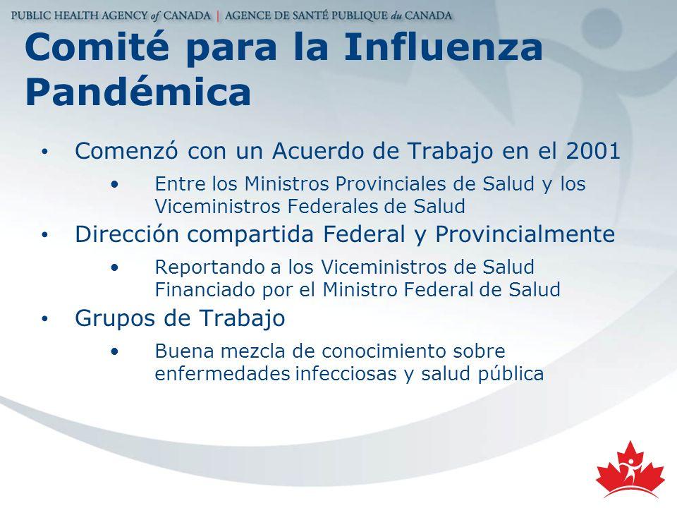 Comité para la Influenza Pandémica Comenzó con un Acuerdo de Trabajo en el 2001 Entre los Ministros Provinciales de Salud y los Viceministros Federale