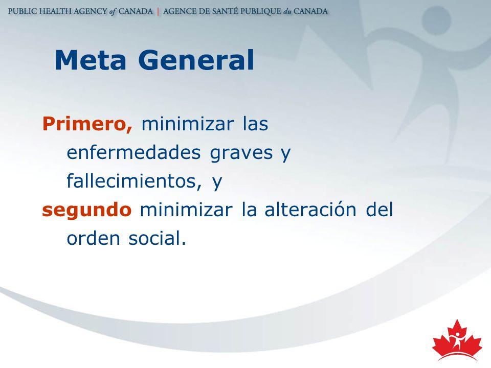 Meta General Primero, minimizar las enfermedades graves y fallecimientos, y segundo minimizar la alteración del orden social.