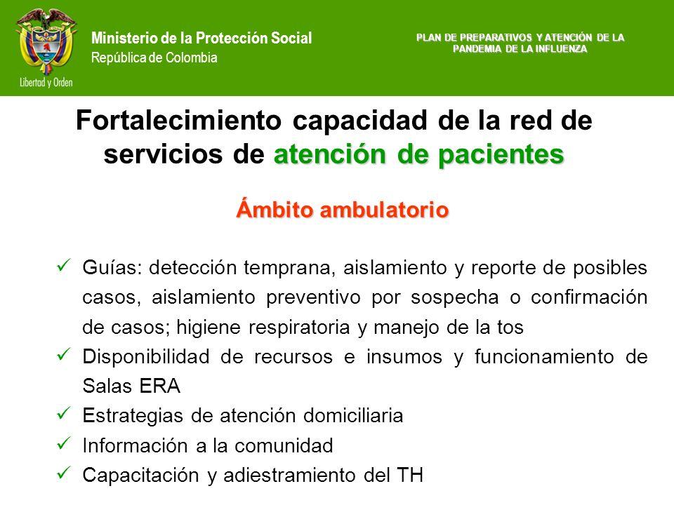 Ministerio de la Protección Social República de Colombia Ámbito ambulatorio Guías: detección temprana, aislamiento y reporte de posibles casos, aislam